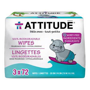 ATTITUDE  Baby Wipes 100% biodegradable 216